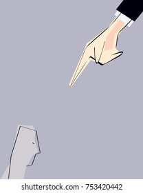 Male hand pointing from above with opressive finger directed to single person. Vector illustration. Concept of dictate, power, regulation, authority, obedience, submission, guilt, fault.