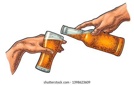 Male hand pouring beer from a bottle into a glass. Section fresco The Creation of Adam. Vector color vintage engraving illustration isolated on a white background