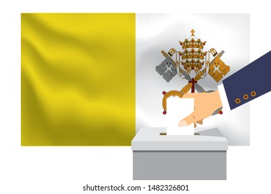 Male hand puts down a white sheet of paper with a mark as a symbol of a ballot paper against the background of the Vatican flag. Vatican the symbol of elections.