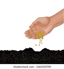Male hand sowing seeds. Vector illustration isolated on white background