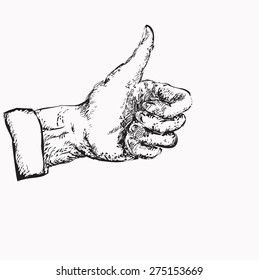 Male hand with thumbs up, concept of deal done, illustration in black and white