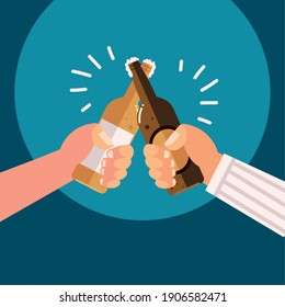 male hands with beer bottles alcohol celebration, cheers vector illustration