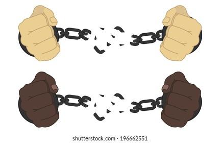 Male hands breaking steel handcuffs