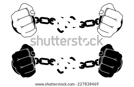 Male Hands Breaking Steel Handcuffs Black And White Vector Illustration Isolated On