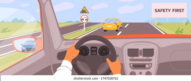 Male hands driving car moving on highway vector illustration. Driver riding on road inside of automobile. Safety first billboard, keep a distance and rise. Vehicle panel view during auto journey