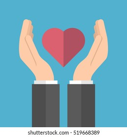 Male hands holding red heart isolated on a blue background. Care, charity and love concept. Flat design. Vector illustration. EPS 8 no, no transparency