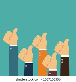 Male hands show thumbs up. Illustration in flat design style. Stock vector
