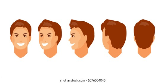 Male head character for animation. Front, side, half-turned, rear view. Vector illustration