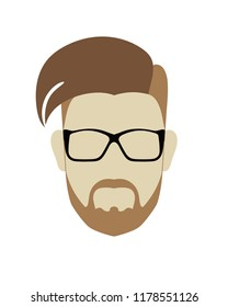 Male head modern hairstyle with crest and short beard hip black glasses. Flat style vector icon or template. Transparent background.