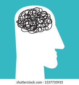Male head with tangled messy line inside as brain. Concept of chaotic thinking process, confused mind, mental disorder, complicated problem. Vector illustration