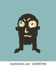 Male head-toe evil, painted illustration