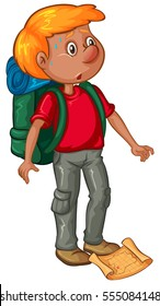 Male hiker with backpack and map illustration