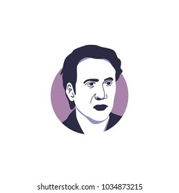 Male hollywood movie actor, Nicholas Cage face vector illustration isolated with simple purple circle background