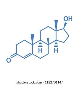 Male hormone testosterone molecular structural chemical formula. Vector icon.