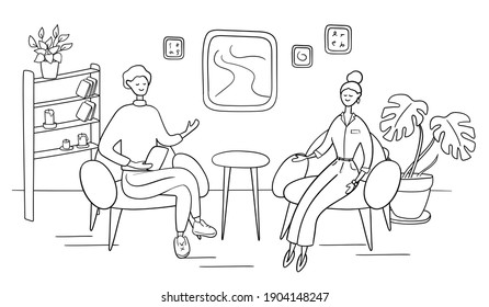 Male host asks famous celebrity on TV show. Popular woman-star gives interview to television presenter in broadcast studio. Internet interview channel concept. Cartoon vector illustration