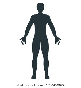 Male human character, people man front side body silhouette, isolated on white, flat vector illustration. Black mannequin people scale concept.