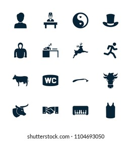 Male icon. collection of 16 male filled icons such as cow, piano toy, razor, singlet, hoodie, yin yang, doctor, running man, deer, man. editable male icons for web and mobile.