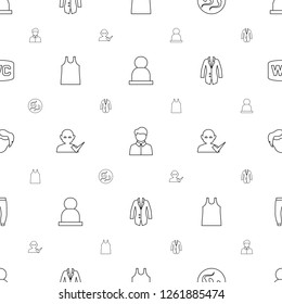 male icons pattern seamless white background. Included editable line user, sperm, singlet, user and tick, jacket, man hairstyle, underpants icons. male icons for web and mobile.
