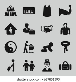 Male icons set. set of 16 male filled icons such as man with luggage, luggage belt, piano toy, baby crawl, singlet, tie, hoodie, handshake, man in home, muscle, yin yang