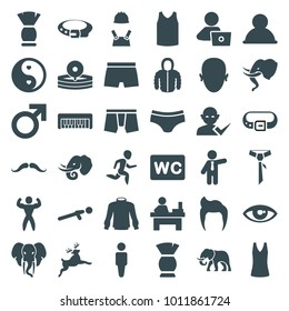 Male icons. set of 36 editable filled male icons such as elephant, man hairstyle, mustache, male, man, brush, belt, wc, man underwear, table, user, push up, yin yang