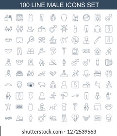 male icons. Trendy 100 male icons. Contain icons such as man hairstyle, WC, male and female, elephant, pants, man, man with laptop, children, sport shorts. male icon for web and mobile.