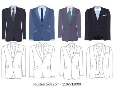 male jacket, sketch of jacket