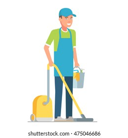 Male janitor in uniform with vacuum cleaner and bucket. Vector flat design illustration