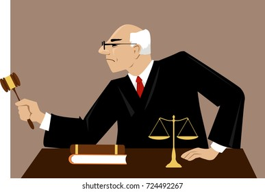 Male judge with a gavel presides over court proceeding, EPS 8 vector illustration
