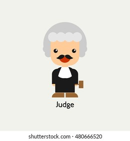 Male Judge Icon. Judge concept colorful icon on white background. Vector illustration