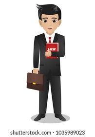 Male Lawyer Holding Red Book of Law and Bag