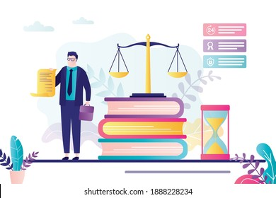 Male lawyer holds license. Advocate signed business agreement. Lawbooks and scales on background. Notary helps people with documents. Elements of law and justice. Trendy flat vector illustration