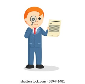 male lawyer looking legal document with magnifying glass