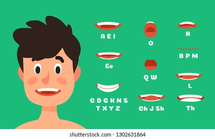 Male lips sync animation. Man character talking mouth expressions, speaking face animations. Character speak, lip sync speech expression animation. Facial flat vector illustration