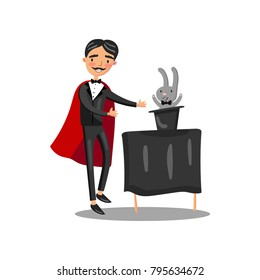 Male magician in black suit and red cape performing his trick rabbit appearing from a magic top hat cartoon vector Illustration