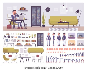 Male manager business office creation kit, full workspace interior, stationery, furniture set, build your own room design. Businessman constructor elements. Cartoon flat style infographic illustration