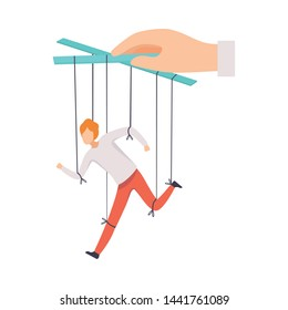Male Marionette on Ropes Controlled by Hand, Manipulation of People Concept, Running Male Manager under Boss Influence Vector Illustration