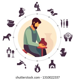 A male master potter is sitting on a chair making a vase.Pottery isolated line icons and vector illustration. Ceramic dishes set and craft. Vector icon set of various kitchenware on the background.