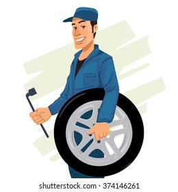 male mechanic holding a wrench and wheel, cartoon character, car tire, tyre service illustration, vector
