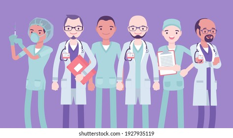 Male medical professional, clinic doctor, hospital nurse, emergency technicians. Group of young handsome healthcare workers in sanitary clothing and uniform. Vector flat style cartoon illustration