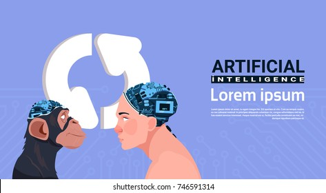 Male And Monkey Head With Modern Cyborg Brain Over Updating Sign Aroows Artificial Intelligence Concept Vector Illustration