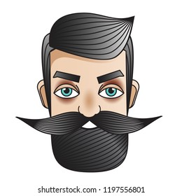 Male with moustache. Man face. Badge, sticker in vintage tattoo style. Emblem for barbershops, man fashion prints and other