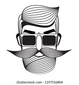 Male with moustache. Modern young man face. Printable badge, sticker in black and white graphic. Emblem for barbershops and other man fashion and beauty