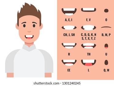 Male mouth animation. Phoneme mouth chart. Alphabet pronunciation. Vector illustration.