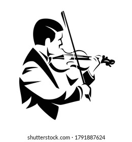 male musician playing violin instrument - classical music performance black and white vector portrait