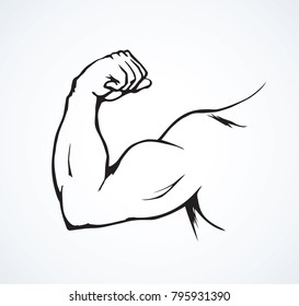 Male nake tough lean force palm sign on white background. Freehand line black ink drawn retro forearm wrist part logo emblem sketch in vintage art doodle style pen on paper. Closeup and space for text