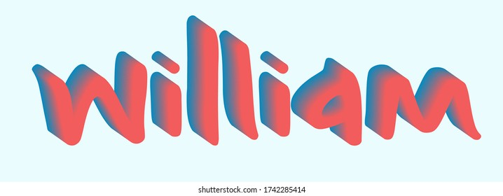 "The male name ""William"" written with a blend 3D effect and a smooth gradient of dark blue and red colors. Text vector illustration for web page, app, card, animation."