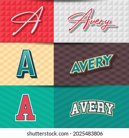 ,Male name,Avery in various Retro graphic design elements, set of vector Retro Typography graphic design illustration