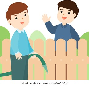 Male neighbor friendly greeting vector illustration