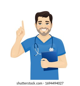 Male nurse character pointing finger up isolated vector illustartion