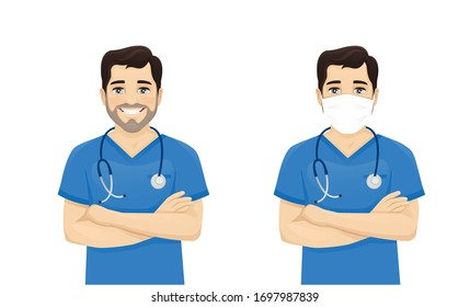 Male nurse character standing with arms crossed wearing protective medical mask isolated vector illustartion